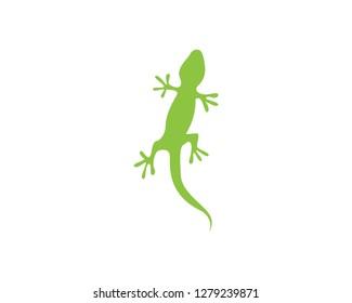 Chameleon Gecko Silhouette black vector