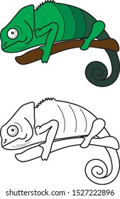 Chameleon graphic icon. Chameleon color sign (and black&white) isolated on white background. Chameleon illustration.