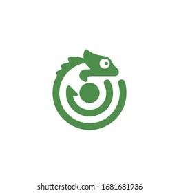 Chameleon green template logo vector
