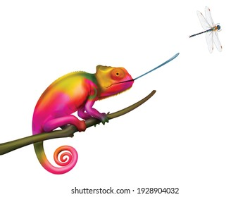 Chameleon hunting for flying dragonfly colorful realistic vector illustration on white background