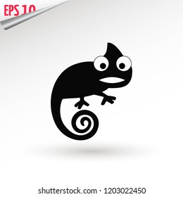 Chameleon icon. Flat symbol. Isolated sign chameleon on white background. Vector Illustration