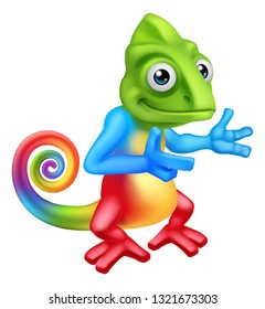 A chameleon lizard cartoon character pointing their finger at something