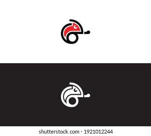 Chameleon logo. Colored bright chameleon. Isolated chameleon on a different backgrounds. Vector illustration