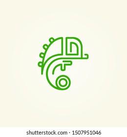 Chameleon logo design . green chameleon logo .  Chameleon icon. Vector illustration
