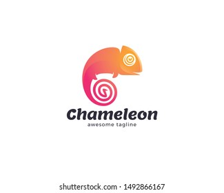 Chameleon logo design. Lizard animal, Exotic animal, Chameleon logo template. Creative chameleon logo icon design