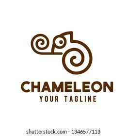 Chameleon logo line art design