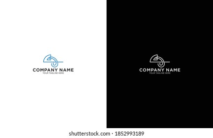 Chameleon Logo With Luxury, Blue Color Isolated On Black Background. Vector Illustration