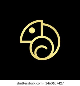 Chameleon Logo With Luxury, Gold Colour Isolated In Black Background. Vector Illustration