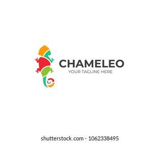 Chameleon logo template. Colored lizard vector design. Exotic animal logotype