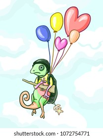 Chameleon in military uniform and helmet flying on balls in the sky clouds - vector funny card for children. Toy, weapon, backpack, humor, book, child. Animal concept of the character.