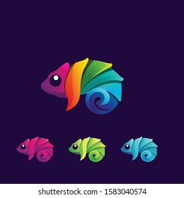 Chameleon modern logo colorful vector