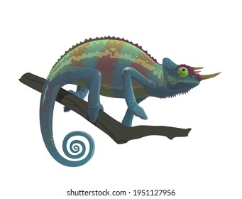 Chameleon reptile sitting on branch of tree, vector cartoon character. Cartoon chameleon animal in camouflage, jungle tropical lizard and exotic pet symbol of zoology park or wildlife nature