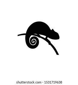 chameleon silhouette, animal vector silhouette,