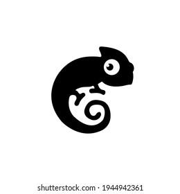 Chameleon silhouette. Chameleon black sign isolated on white background. Chameleon Vector illustration
