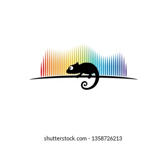 chameleon silhouette in front of colorful aurora borealis light
