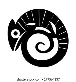 chameleon tattoo black silhouette stylized vector