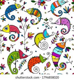 Chameleons family, seamless pattern for your design. Vector illustration