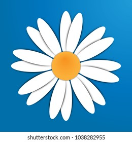 Chamomile, camomile flower. White daisy camomile icon. Flat design with shadow. Isolated on blue background. Greeting card, love card and invitation of wedding, birthday, mother's day and womens day