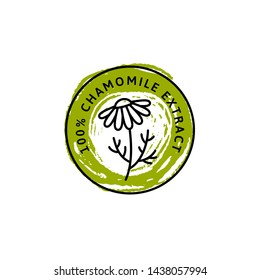 Chamomile Flower badge and icon in trend linear and hand draw style - Vector Logo Emblem of Medical Chamomile Can be Used Template for packing Tea , Cosmetics, Medicines, biological additives.