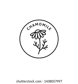 Chamomile Flower herbal organic badge and icon in trend linear style - Vector Logo Emblem of Medical Chamomile Can be Used Template for packing Tea , Cosmetics, Medicines, biological additives