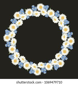 Chamomile and forget me-not-pattern on black background. Daisy chain. Round frame for your text or photo. Vector illustration.
