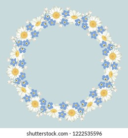 Chamomile and forget me-not-pattern on blue background. Daisy chain. Round frame for your text or photo. Vector illustration.
