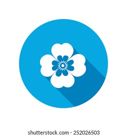 Chamomile, forget-me-not flower icons. Floral symbol. Round circle flat icon with long shadow. Vector