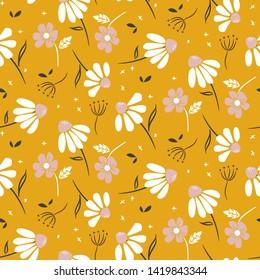 Chamomile mustard yellow flowers modern pattern seamless vector texture.