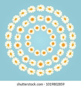 Chamomile patterns on vintage blue background. Daisy chaines. Set collection of round frames for your text or photo. Vector illustration. Brushes, easy to use