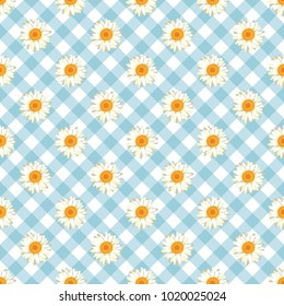 Chamomile seamless pattern. Daisies on retro blue Gingham Check background. Vector illustration.