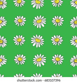 Chamomile wild field flower isolated on green background, hand drawn daisy sketch vector doodle illustration, seamless floral pattern for design package tea, cosmetic, medicine, textile, decor fabric