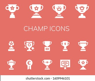 champ icon set. 14 filled champ icons.  Simple modern icons such as: Trophy, Award, Prize, Merit