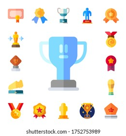 champ icon set. 17 flat champ icons.  Simple modern icons such as: award, trophy, medal, medals