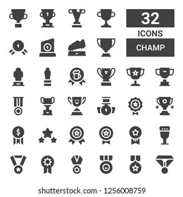 champ icon set. Collection of 32 filled champ icons included Medal, Prize, Goblet, Medals, Award, Trophy