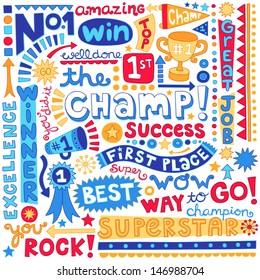 The Champ Success Word Doodles- Sports Trophy Winner Notebook Doodles-  Illustration Hand-Drawn Lettering Design Elements Set