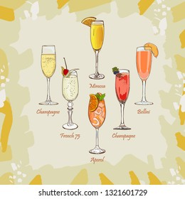 Champagne, Bellini, Mimosa, Kir Royale, French 75, Aperol Spritz cocktail illustration. Alcoholic classic bar drink hand drawn vector. Set, collection for menu