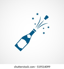 Champagne Bottle Blue Flat Icon On White Background