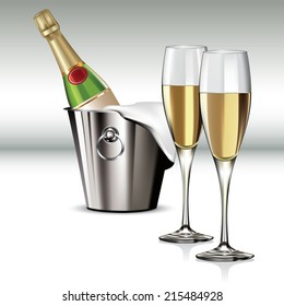 Champagne bottle in cooler and full champagne glass. Vector illustration