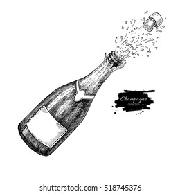 Champagne bottle explosion. Hand drawn isolated vector illustration. Alcohol drink splash with bubbles. Vintage sketch. Beverage drawing for bar and restaurant menu, poster, banner Celebration concept