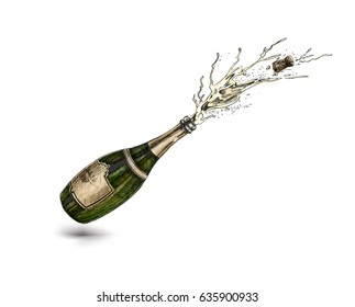 Champagne bottle explosion sign simple icon, Hand Drawn Sketch Vector illustration.