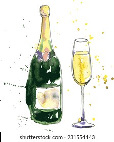 champagne bottle and glass, drawing by watercolor and ink, hand drawn vector illustration