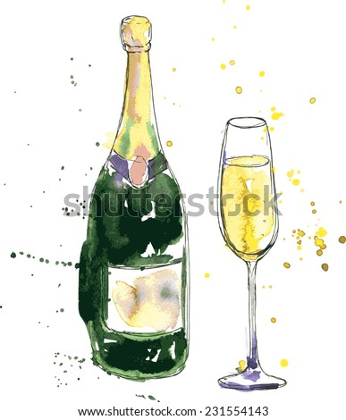 champagne bottle and glass drawing by watercolor and ink hand drawn vector illustration