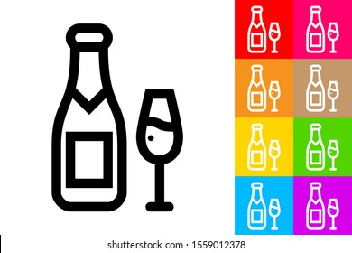 Champagne Bottle and Glass. Line Icon With Different Color Background.