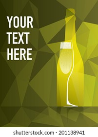 Champagne bottle and glass on colorful background