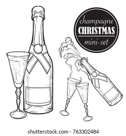 Champagne bottle and glasses. Closed and open champagne bottle and glasses, holiday toast, cork jumping out with explosion. Set of hand drawn EPS10 vector illustrations isolated on white background.