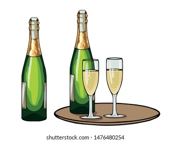 Champagne bottle and glasses, set of cartoon vector illustrations isolated on white background. Closed bottle and glasses, holiday toast