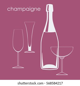 Champagne bottle and glasses vector illustration. A set of champagne glasses and a champagne bottle.