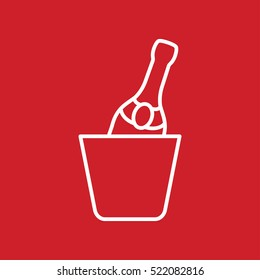 champagne bottle in ice bucket alcohol line outline icon