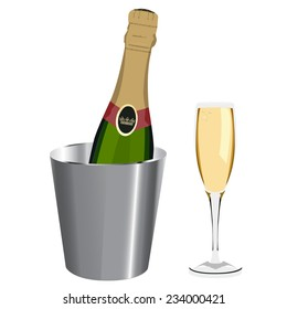 Champagne bottle, ice bucket, champagne glass, vector isolated on white