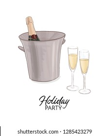 Champagne bottle with ice bucket vector illustration. Vector art. Celebration greeting card, anniversary design. Bithday party, New year event, Valentines, holiday decor